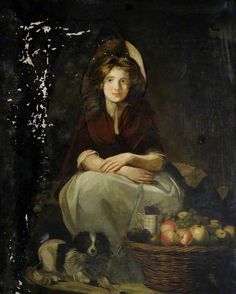 Girl with a Dog and Fruit by John Opie or Francis Wheatley (style of)