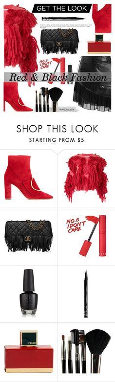"""RED & BLACK FASHION"" by crochetragrug ❤ liked on Polyvore featuring Oscar Tiye, writtenafterwards, Chanel, NYX, Fendi and Glamour Status"