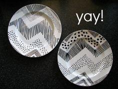 DIY Sharpie Plates - great pin @Lauren Davison Davison Davison Davison Davison Elliott