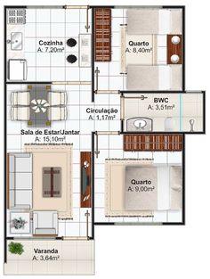 Veja 3 modelos de casas com até 70 m2, que poderá construir pelo programa minha casa minha vida da CEF