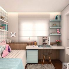 33 Awesome College Bedroom Decor Ideas And Remodel - Thuisdecoratie Girl Bedroom Designs, Girls Bedroom, Living Room Designs, Bedroom Ideas, Bedroom Small, Design Bedroom, Childrens Bedroom, Single Bedroom, Diy Bedroom
