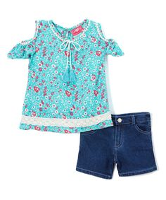 Mint Floral Chiffon Off-Shoulder Top & Shorts - Girls