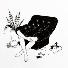 "Henn (헨) / ✍ illustrator on Instagram: ""Sunday mood . 숨을 참는다고 심장이 멈춰질까 니가 있던 소파…"