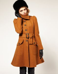 ASOS Fit And Flare Coat With Belt  $161.73 Totally feeling this fit and flare