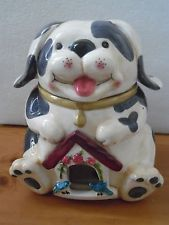 DOG COOKIE JAR WITH BIRD HOUSE  FRONT CLEAR DOOR TWO BIRDS WATCHING THE COOKIES