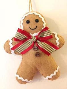 Personalized Felt Gingerbread Man Ornament  Personalized Gift