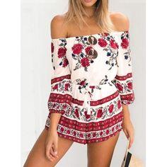 Women Chiffon Off Shoulder 3/4 Sleeve Floral Drawstring Waist Short Jumpsuit