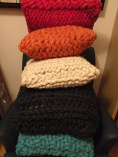 Giant hand knit Pillow. SUPER CHUNKY rope yarn.