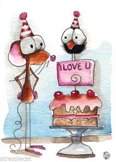 ACEO Original Watercolor Folk Art Whimsical Painting Mouse Crow Cake Cherry Love | eBay