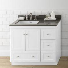 "Ronbow Shaker 36"" Bathroom Vanity Cabinet Base in White - Wood Doors on Left"