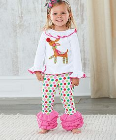 Look at this Mud Pie White Reindeer Tunic & Ruffle Leggings - Toddler on #zulily today!