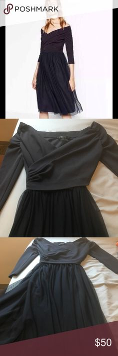 Dark Blue Tulle Sleeved Dress Condition like new! No tags. Size US Small. Can maybe also fit XS. Midi length, 3/4 sleeve. Polyester. Zara Basic Collection. Very dark blue color. Zara Dresses Midi