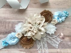 ❥Welcome to Belly Boutique Crafts!❥ ♥ Proud to be listing this beautiful cream, brown and light blue flower sash, for parties like Gender Reveal Party and Baby Shower ir wear it for bridal shower, weddings. The sash features a soccer ball button, pearls, rhinestones, lace, fabric
