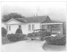 """I had this pencil sketch done for my dad who is eighty-eight years old. It is of the first house he and my mom built and the family car they bought when I was a baby. It brought back special memories for us all. We were all teary-eyed when he opened it. I would highly recommend these sketches. They are awesome, memorable gifts for special people in your life."""