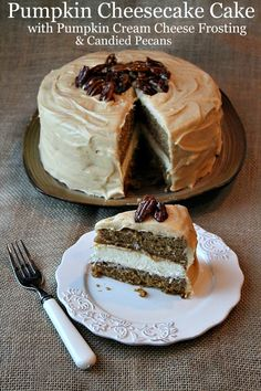 "Pumpkin Cheesecake Cake with Pumpkin Cream Cheese Frosting & Candied Pecans from Recipe Girl. ""Two layers of pumpkin spice cake with that thick layer of cheesecake tucked inside, a delicious frosting and the crunchy, candied pecans."""
