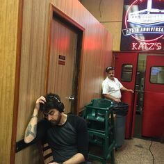 Adam Goldberg in mid-day ponder on the set of THE JIM GAFFIGAN SHOW at Katz's Deli. Click to discover full episodes.
