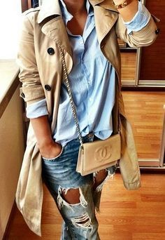 Classic tan trench coat, light blue chambray button down shirt, light  distressed ripped skinny jeans, tan nude Chanel crossbody bag. c27500e953