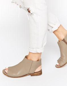 ASOS AALIYA Open Back Peep Toe Leather Ankle Boots