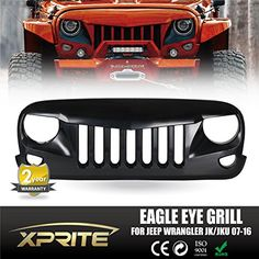 Xprite Front Matte Black Angry Bird Grille Grid Grill for Jeep Wrangler Rubicon Sahara Sport Jk 2007-2015