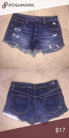 Denim high rise cut offs! These are the high rise festival cut offs from American Eagle. Only worn once. They are a little stretchy so they're super comfy!! Perfect for summer-- you can dress them up or down! Size 12. Paid $55, asking $17 OBO! :) American Eagle Outfitters Shorts Jean Shorts