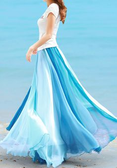One of the most beautiful maxi skirts I've ever seen, only $38 - Color Block Maxi Skirt - LookBookStore.co