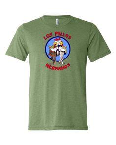 Large Green Adult Los Pollos Hermanos Breaking Bad Inspired Triblend Short Sleeve T-Shirt