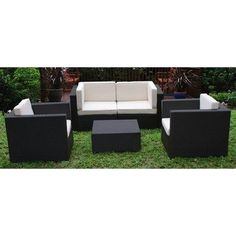 St. Tropez 5 Piece Deep Seating Group with Cushions Fabric: Sunbrella Brown by International Home Miami. $2699.00. PLI ST. TROPEZ SBG Fabric: Sunbrella Brown Features: -Aluminum and synthetic wicker frame.-Free Feron Gard Vinyl Preservative for longest strap durability. It works great against the effects of air pollution salt air, and mildew growth. For best protection, perform this maintenance every season or as often as desired.-Great functionality. Includes: -I...
