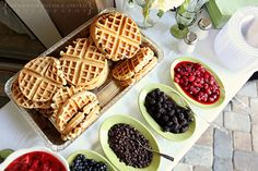 Waffle Bar I could eat waffles anytime of day, but they're of course the perfect food for a bridal shower brunch. Breakfast And Brunch, Breakfast Buffet, Sunday Brunch, Brunch Buffet, Brunch Bar, Brunch Food, Breakfast Ideas, Party Buffet, Breakfast Catering