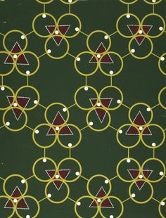 Boric Acid textile pattern, based on a diagram of atomic structure, part of a series of textiles created for the Festival of Britain's Festival Pattern Group by 28 leading fabric manufacturers, United Kingdom, by John Line and Sons.