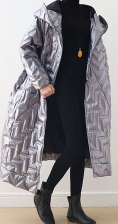 Warm silver glossydown coat winter plus size hoodedwomens parka thick Elegant Jackets Warm Coat, Winter Coat, Fall Winter, Plus Size Down Coats, Coats For Women, Parka, Plus Size Fashion, Fashion Coat, Fashion Spring