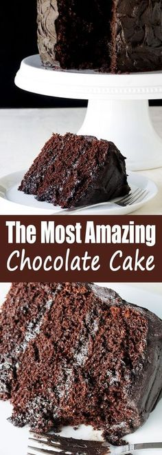 The Most Amazing Chocolate Cake is here I call this my Matilda Cake because I swear its just as good as the cake that Bruce Bogtrotter ate in Matilda Moist chocolaty perf. Brownie Desserts, Oreo Dessert, Mini Desserts, Just Desserts, Delicious Desserts, Yummy Food, Amazing Dessert Recipes, Appetizer Dessert, Desserts Menu