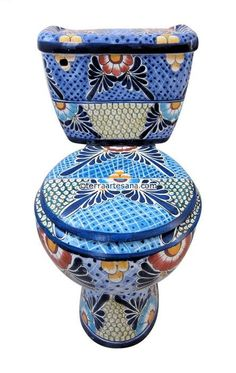 Mexican Talavera Toilet Set 'Cancun' - Terra Artesana