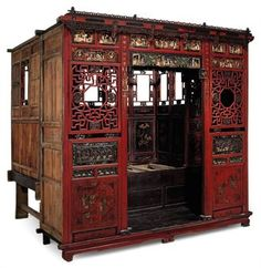 A CHINESE OPIUM BED  - I'd love to have one of these, like a room within a room