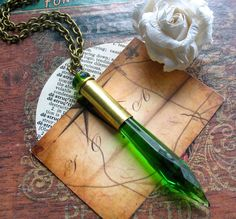Ammo Glam II Recycled Brass Bullet Necklace Vintage Green Chandelier Dagger Urban Gunslinger