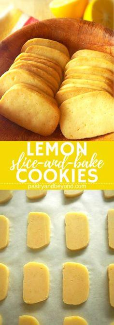 Lemon Slice-and-Bake Cookies-These lemon slice-and-bake cookies are full of lemon flavor and they are very light! #sliceandbake #lemoncookies #sliceandbakecookies Recipe on pastryandbeyond.com