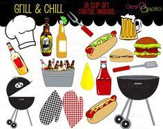 Party Clipart Backyard BBQ Clip Art Cooking Clipart Printable BBQ Grill Chef Clipart Beer Clip Art Digital Clip Art - Instant Download