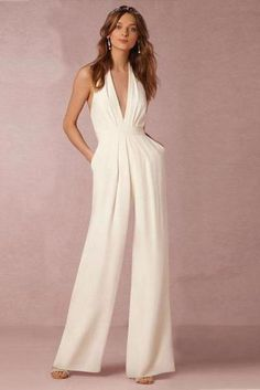 d25e4ecf3ab White Backless Sleeveless Hanging Neck Piece Jumpsuits