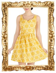 Air of Adorable Dress in Dotted Gold - $74.99