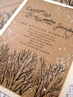 Splash white paint onto forest scene. Winter Wedding Invitation hand stamped and painted. via Etsy.