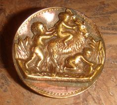 Antique Button of Putti Riding Ram by ArtiFects on Etsy