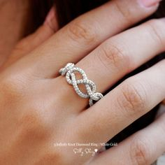 3 Infinity Knots Diamond Ring 14K Gold by SillyShiny on Etsy