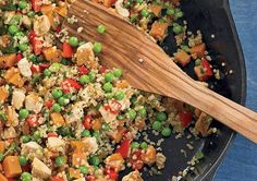 Chicken, sweet potato, & quinoa stir-fry.