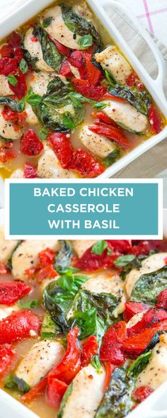 Make this easy baked chicken breast casserole recipe in under 45 minutes! Fresh basil, roasted red peppers, orange juice and lemon make this recipe a keeper. #chicken #casserole