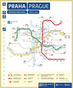 Information about Prague metro. Metro lines, intervals, transferring stations, metro map (plan). Metro Map, Prague Travel, Prague Map, Prague Tourist Map, Subway Map, S Bahn, Prague Czech Republic, Photos Voyages, Central Europe