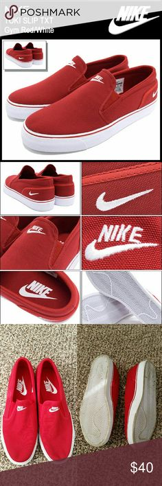 Mens Nike Toki Slip Txt Worn once outside, didn't fit right no flaws. Men's us 8.5 . Mens Nike Toki Slip Txt Gym red & White Nike Shoes Athletic Shoes