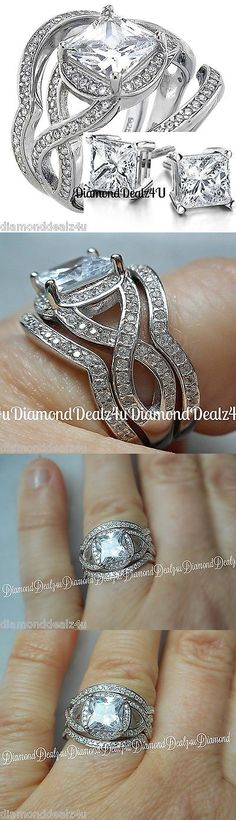 e43d70303af1 CZ Moissanite and Simulated 92878  14K White Gold 925 Sterling Silver  Princess Cut Engagement Ring Wedding Band Set BUY IT NOW ONLY   54.99
