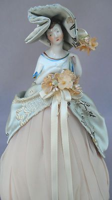 German Porcelain Half Doll Pin Cushion with Porcelain Shawl - Art Deco Detailing | eBay