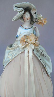 German Porcelain Half Doll Pin Cushion with Porcelain Shawl - Art Deco Detailing | eBay