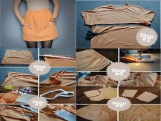 Tutorial for a pocket skirt from an T-shirt