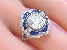 ART DECO 2ct OLD MINE CUSHION DIAMOND SAPPHIRE PLATINUM ENGAGEMENT COCKTAIL RING #ANTIQUERING #ART DECO #ENGAGEMENTRING #DIAMONDRING www.MelsAntiqueJewelry.com